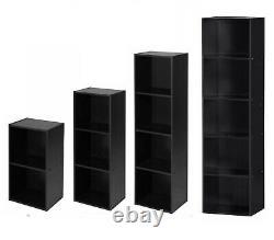 Elegant Black Wooden Cube Shelving Rack Book Case CD DVD Display Shelf Organizer