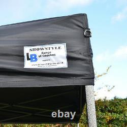 Fire Retardant BLACK 3m x 3m Heavy Duty SHOWSTYLE Commercial Grade Gazebo