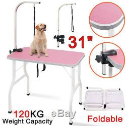 Foldable 31 Pet Dog Grooming Trimming Table Noose Adjustable Steel Arm Non-Slip