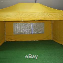 Gala Tent Pop 32mm Yellow Commercial Gazebo 3 x 4.5 Easy Up Pop Up With Sides