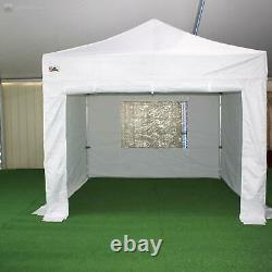 Gala Tent Pop 50mm White Commercial Gazebo 3 x 3 Easy Up Pop Up With Sides