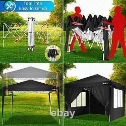 Garden Gazebo 4 Sides Heavy Duty Waterproof Canopy Pop-up Tent Wedding Party3x3M