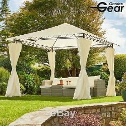 Garden Gear Metal Gazebo Pavilion Marquee Shelter Cream Roof & Curtains 3x3m NEW