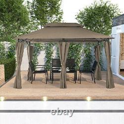 Garden Metal Gazebo 3x4M Patio Party Tent Marquee Canopy Pavilion Sidewall Khaki