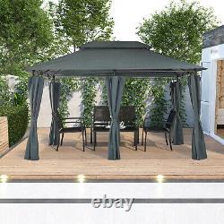 Garden Metal Gazebo 3x4M Patio Party Tent Marquee Canopy Pavilion Sidewalls Grey
