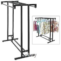 Garment Floor Display Rack Heavy Duty Hanging Clothes Hanger Double Rod Organize