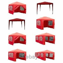 Gazebo Party Tent Marquee Garden Outdoor Waterproof Standard or Pop Up Sides Red