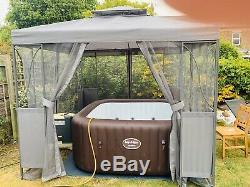 Grey Or Taupe Luxury Metal Framed Gazebo 2.5m X 2.5m Hot Tub Spa Pool Canopy