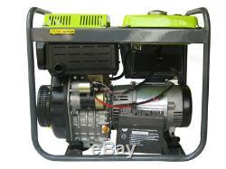 HEAVY DUTY DIESEL GENERATOR 5000W 2x 230V 1x 12VDC GENERATOR 5kW PORTABLE