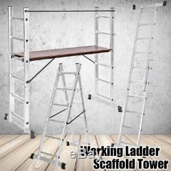 Heavy Duty 3 in 1 Working Ladder Step Scaffold Tower Platform Aluminium EN131