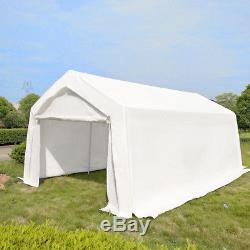Heavy Duty 3x6m Portable Garage Tent Shelter Carport Canopy Steel Frame White UK