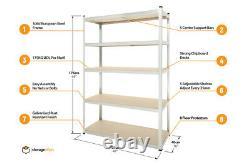 Heavy Duty 5 Tier Garage Shelving Storage Unit (176x120x40cm) Boltless Assembly