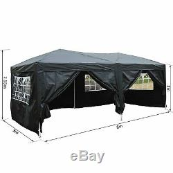 Heavy Duty Easy Erect Marquee Large Pop Up Gazebo Garden Proof Marquees Black