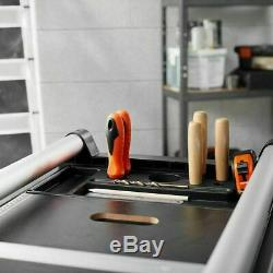 Heavy Duty Folding Metal Workbench Portable Mobile Workshop Garage Table Wheels