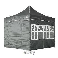 Heavy Duty Gazebo Marquee Pop-up Waterproof Garden Party Tent withSides 3x3M Grey