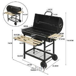 Heavy Duty Large Charcoal Barrel BBQ Grill Garden Barbecue Mini Smoker WithWheels