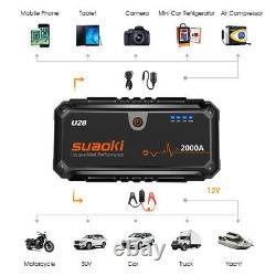 Heavy Duty Portable 2000A 12V Car Jump Start Battery Power Starter Booster Pack