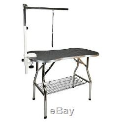Heavy Duty S/S 44 Large Foldable Pet Dog Grooming Table with Arm by Flying Pig