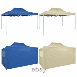 Heavy duty Pop-Up Tent Marquee Blue/Cream with 4 Walls/No wall Wedding Party BBQ