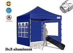 Hercules Gazebo 3 x 3 Commercial Grade Aluminium Hex 40 Pop Up Catering BBQ BLUE