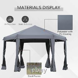 Hexagonal Pop Up Gazebo 3.2x3.2m Patio Instant Tent Waterproof Garden Marquee
