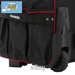 Husky 22in Rolling Mobile Heavy Duty Portable Tool Bag Storage Organizer Tote