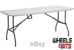 J-Living 6FT 1.8M Folding Trestle Table Heavy Duty Plastic Portable Party BBQ
