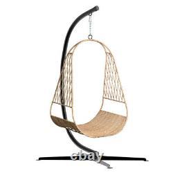 Large C Shape Hammock Frame Black HeavyDuty Outdoor Hook Steel Swing Chair Stand