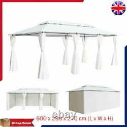 Large Gazebo with Curtains White Outdoor Party Tent Canopy Shelter Marquee 6x3 M