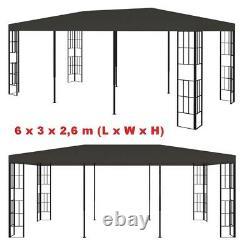 Large Metal Gazebo Outdoor Pergola Pavilion Shelter Tent BBQ Shed Sun Shade 3x6m