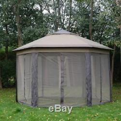 Large Pop Up Gazebo 4x4 Hexagon Patio Instant Tent Waterproof Garden Marquee