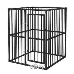 Metal Crate Pet Cage Heavy-Duty Outdoor Dog Kennel with Hinged Door 4'x4' Black