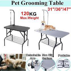New 31/47 Foldable Anti-Slip Surface Pet Dog Bath Grooming Table Arm Adjust