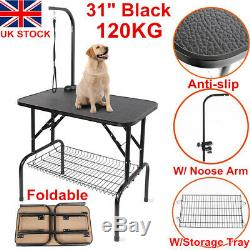 New 31 Foldable Portable Non-Slip Pet Dog Grooming Table Arm Adjust Noose Tray