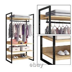 Open Wardrobe Clothes Rail Coat Stand Hallway Garment Display Rack Shoe Storage
