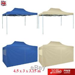 Outdoor Garden 3x4.5m Foldable Tent Pop-Up Marquee with 4 Walls/No wall Blue/Cream
