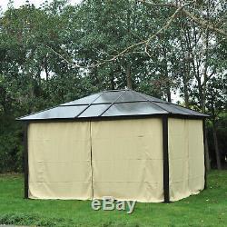 Outsunny 4.3 x 3.6m Aluminium Gazebo with Curtains & Net Tent Heavy-Duty Hardtop