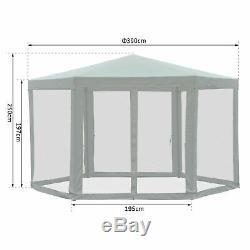Outsunny Garden Hexagonal Gazebo Outdoor Canopy Party Tent Marquee