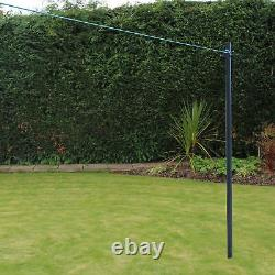 PRO2.4m Galvanised Heavy Duty Clothes Washing Line Post Pole Support With Socket