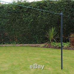 PRO2.4m Galvanized Heavy Duty Clothes Washing Line Post Pole Support With Socket
