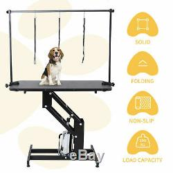 Pet Dog Grooming Table Heavy Duty Hydraulic Z-Lift Table with Arm Leash Loop UK