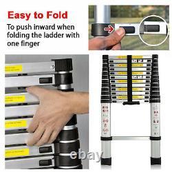 Portable Heavy Duty Multi-Purpose Aluminium Telescopic Ladder Extendable + Hooks