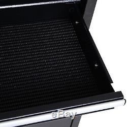 Portable Tool Chest Heavy Duty Garage Storage Box Cart Workshop Cabinet Black