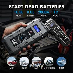 Portable V2000Pro Battery Booster Pack Charger Power Jump Starter Box Heavy Duty