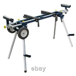 Powertec Miter Saw Stand w Rubber Wheels Deluxe Portable Heavy Duty 110Volt
