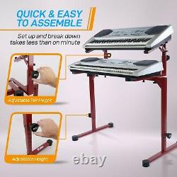 Pyle Universal Keyboard Heavy-Duty Electronic Portable Piano Stand with 2nd Tier
