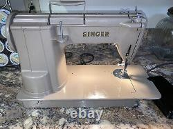 Rare Singer 301A Portable Heavy Duty Gear Drive Sewing Machine Tested