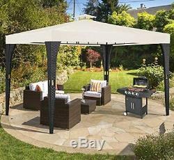 Rattan Garden Gazebo 3x3m Outdoor Pavilion Black Cream Canopy Wedding Party Tent