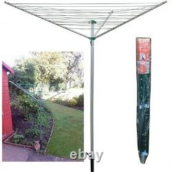 Rotary Airer 30m Outdoor 3 Arm Clothes Washing Line Dryer Folding Garden Laundry