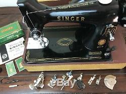 SERVICED Heavy Duty Vtg Singer Sewing Machine 99-31 Denim Leather Portable, Gold